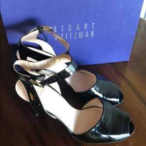 Stuart Weitzman patent leather peep toe heels
